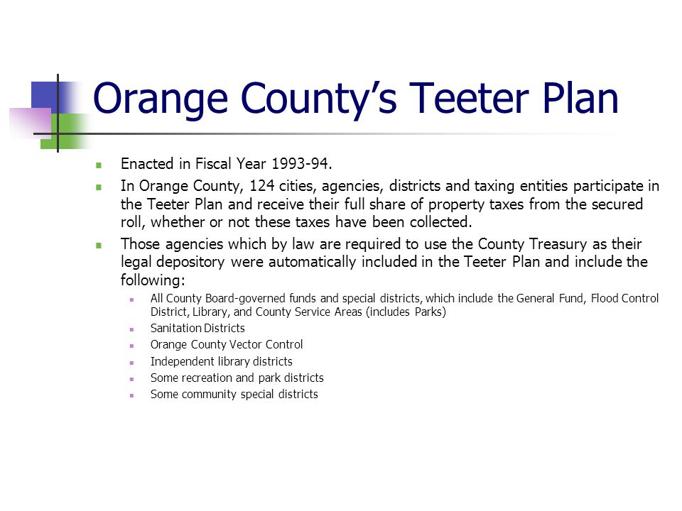 Orange County's Teeter Plan