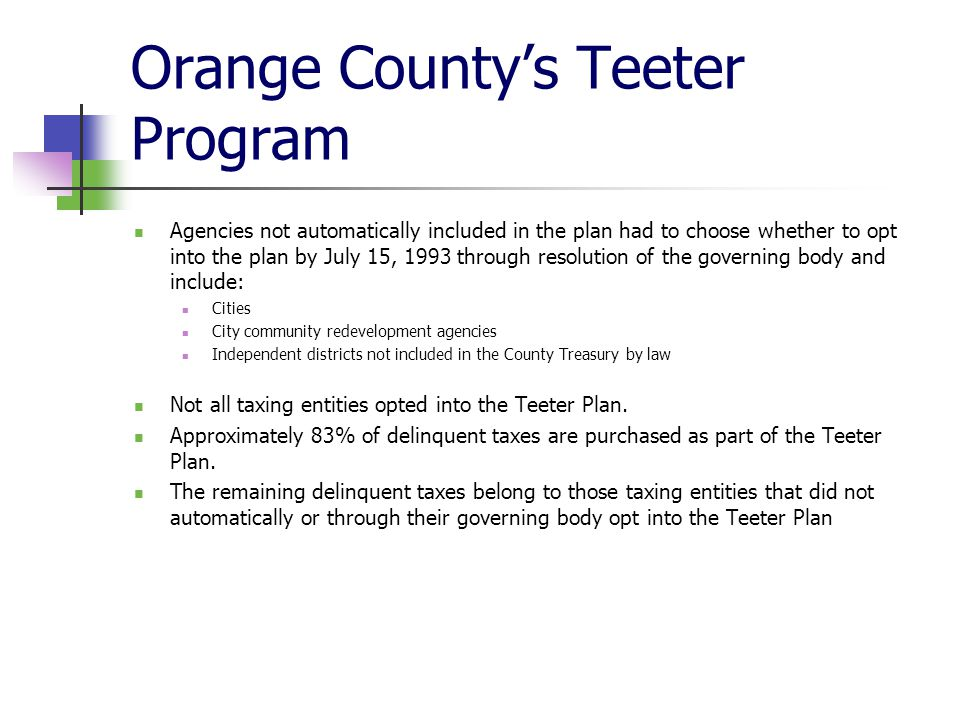 Orange County's Teeter Program