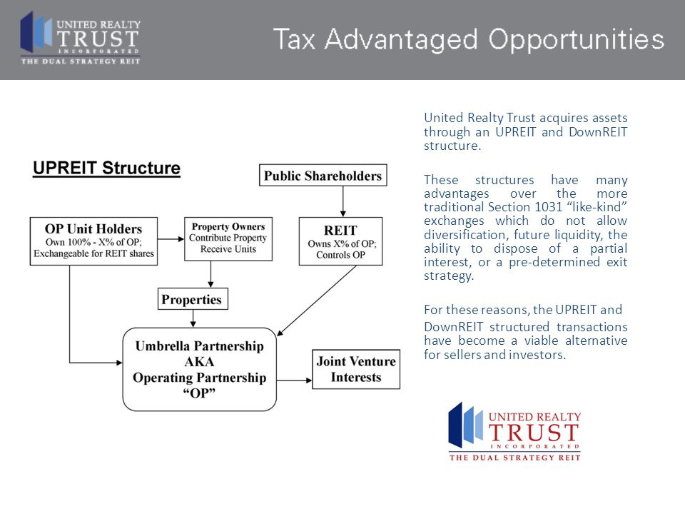 United Realty Trust acquires assets through an UPREIT and DownREIT structure.