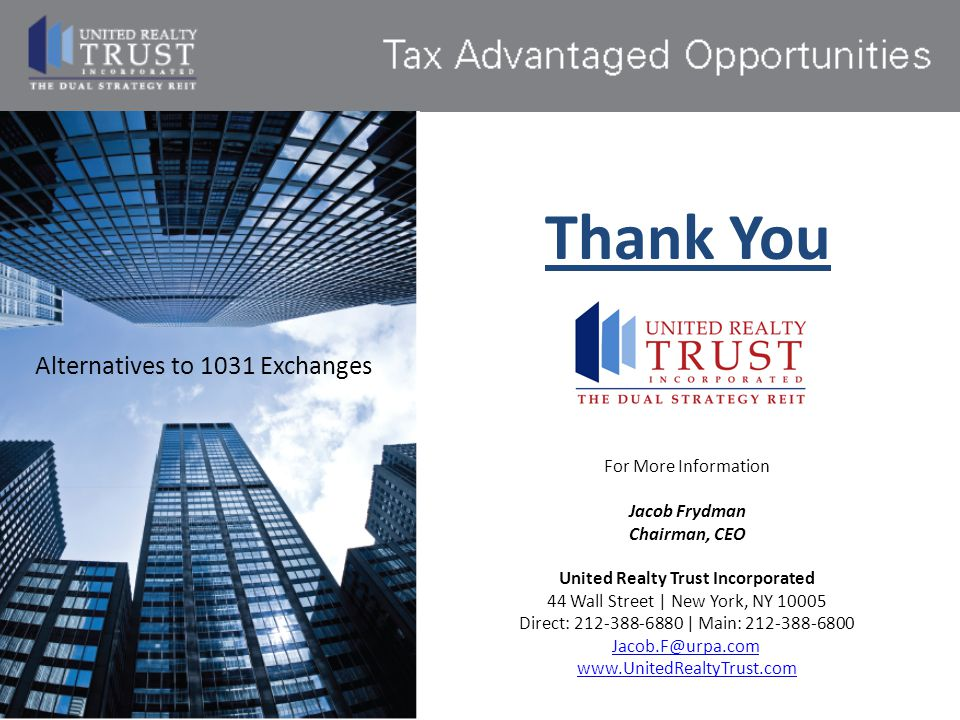 Thank You Alternatives to 1031 Exchanges For More Information
