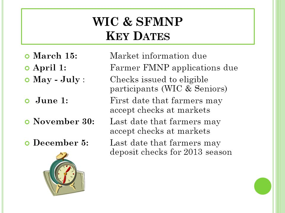 WIC & SFMNP Key Dates March 15: Market information due