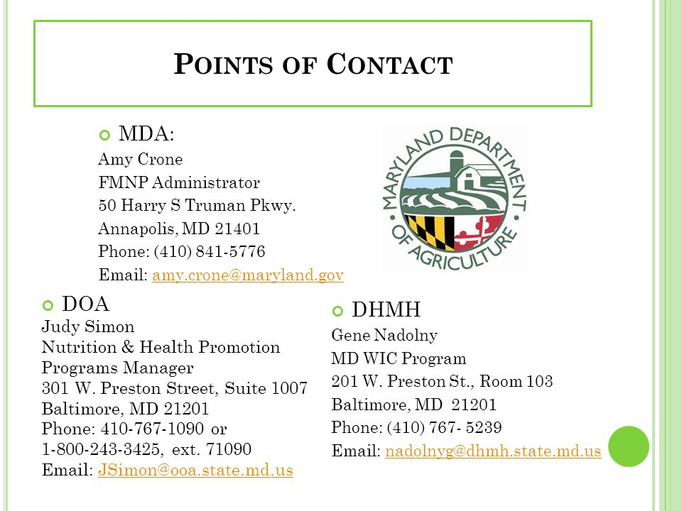 Points of Contact MDA: DOA DHMH Judy Simon