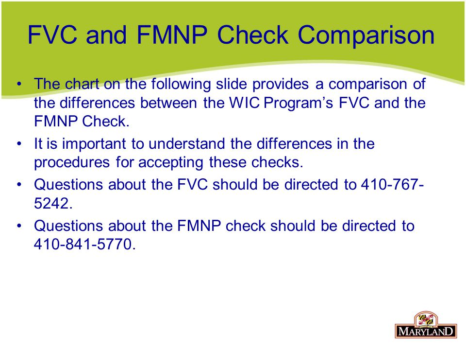 FVC and FMNP Check Comparison