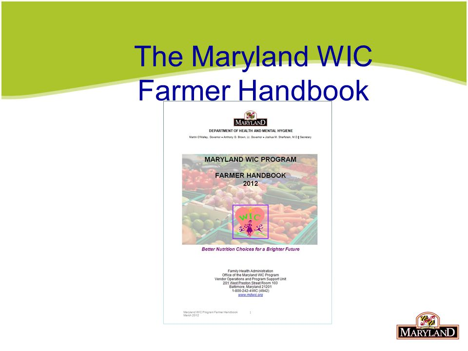 The Maryland WIC Farmer Handbook