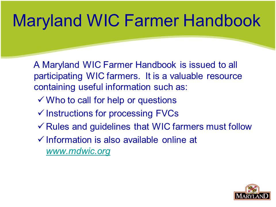 Maryland WIC Farmer Handbook