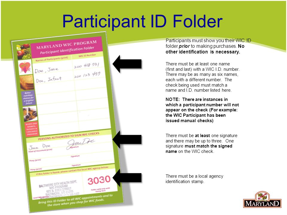 Participant ID Folder Participants must show you their WIC ID folder prior to making purchases. No other identification is necessary.