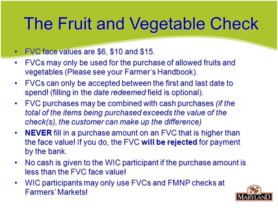 The Fruit and Vegetable Check