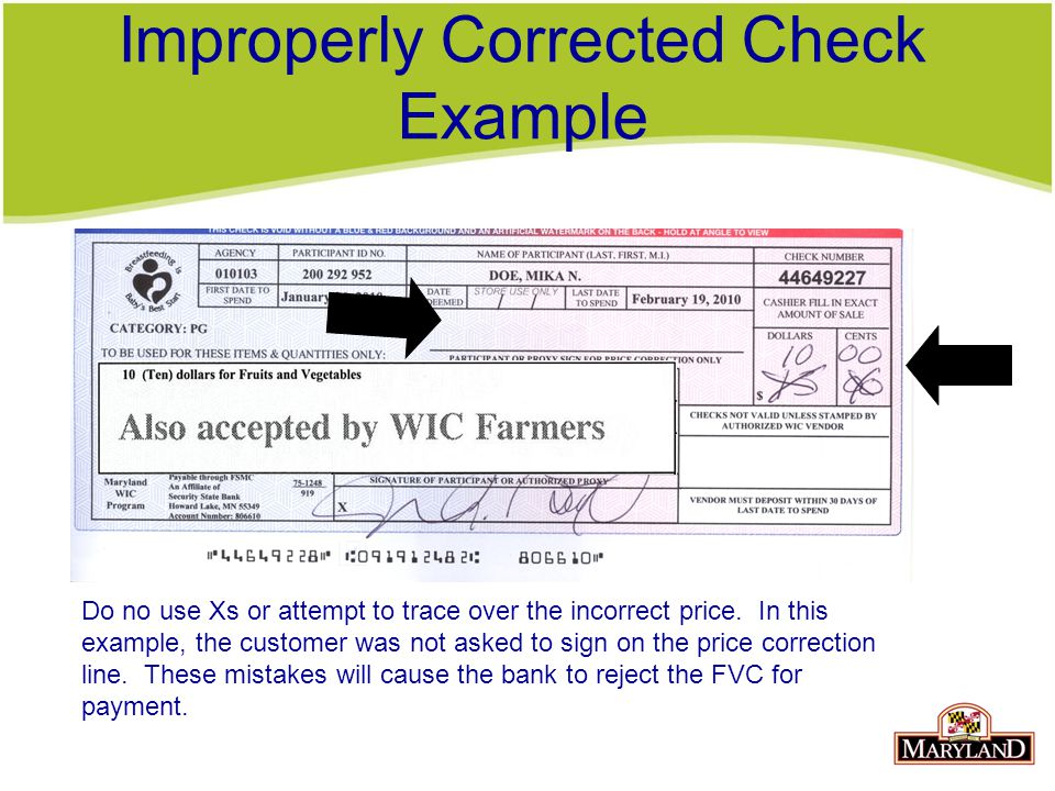 Improperly Corrected Check Example