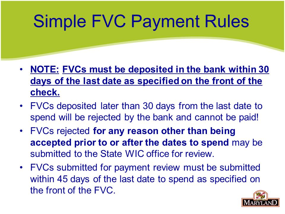 Simple FVC Payment Rules