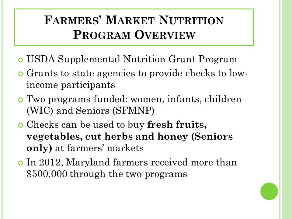 Farmers' Market Nutrition Program Overview