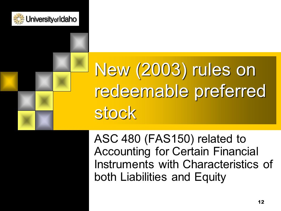 New (2003) rules on redeemable preferred stock