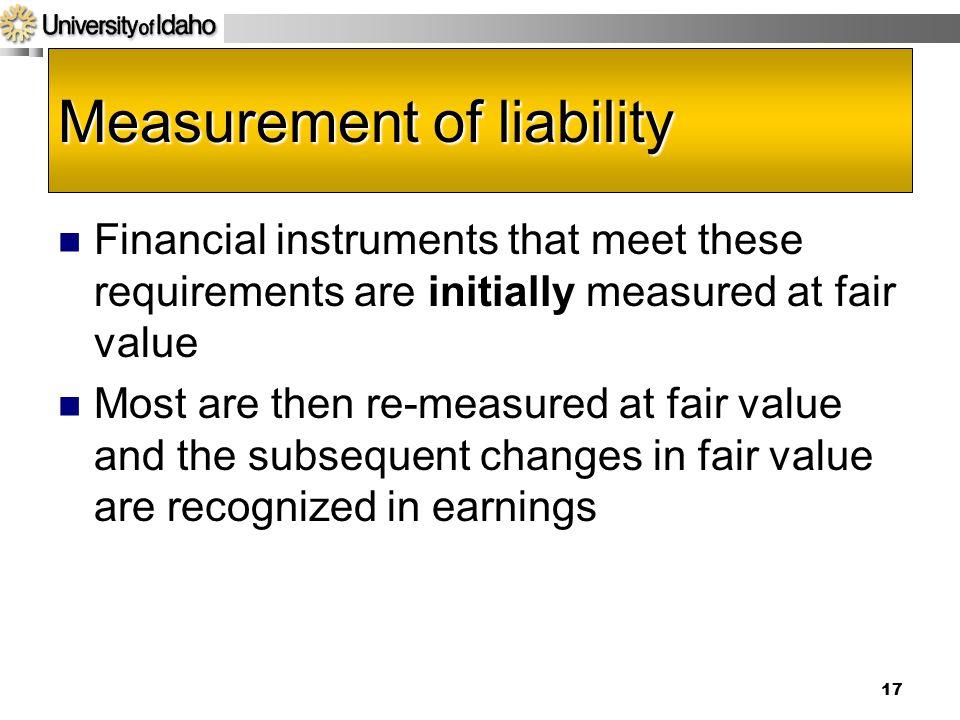 Measurement of liability