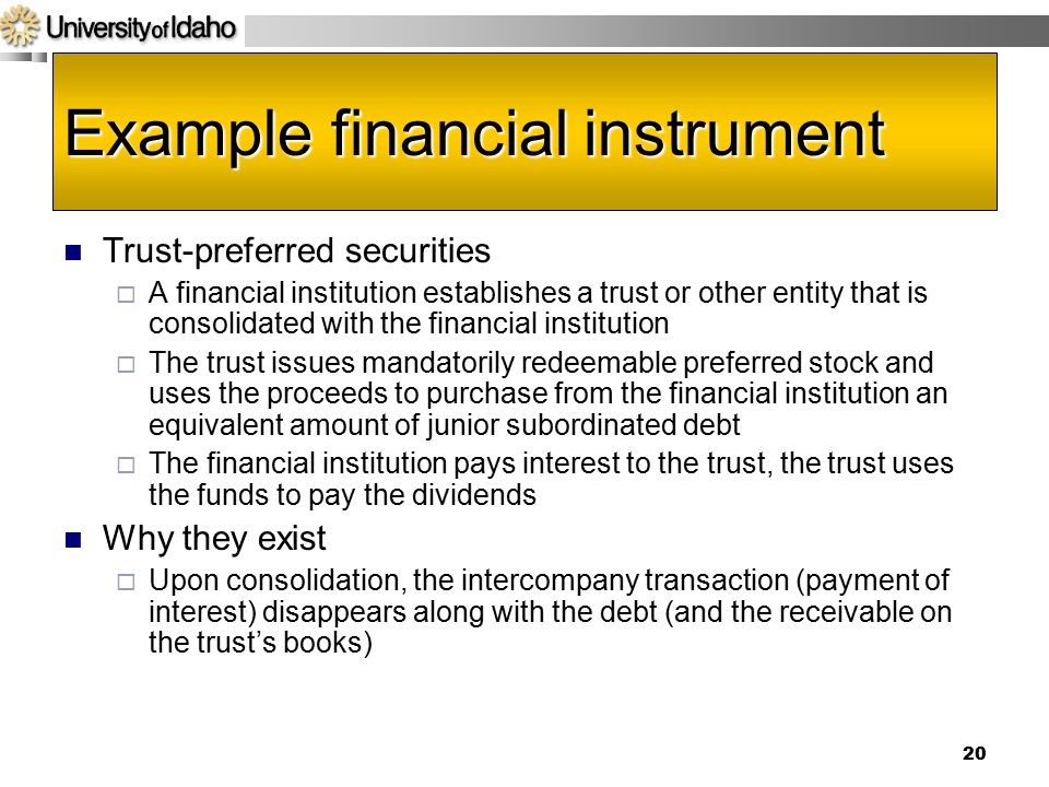 Example financial instrument