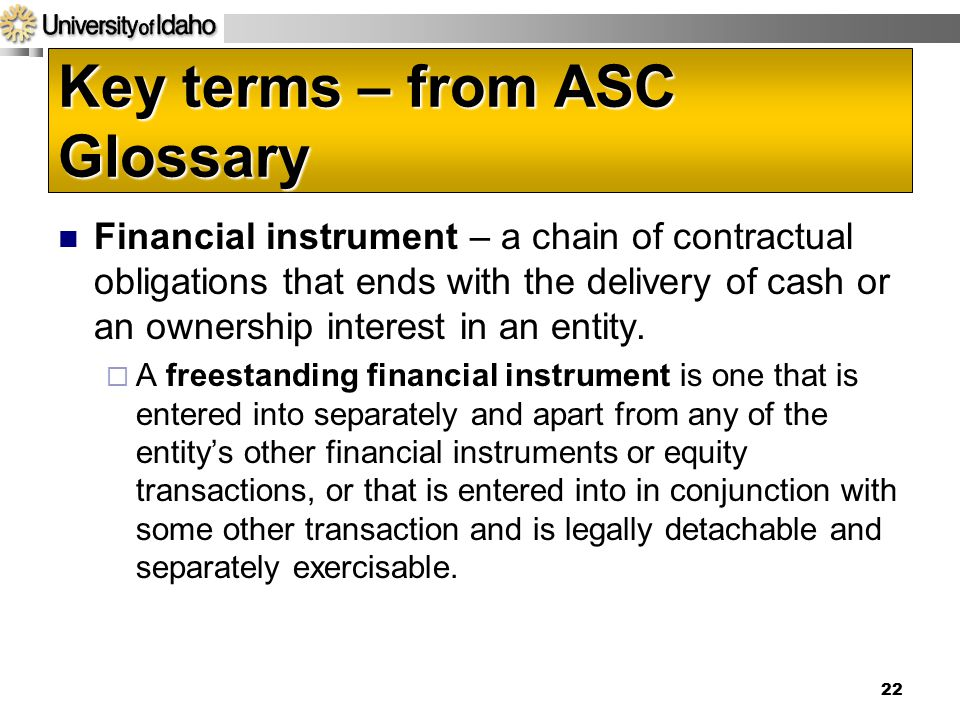 Key terms – from ASC Glossary