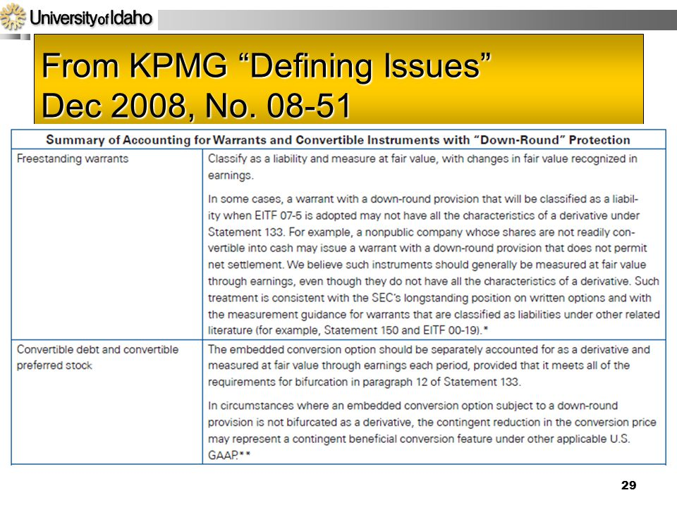 From KPMG Defining Issues Dec 2008, No. 08-51