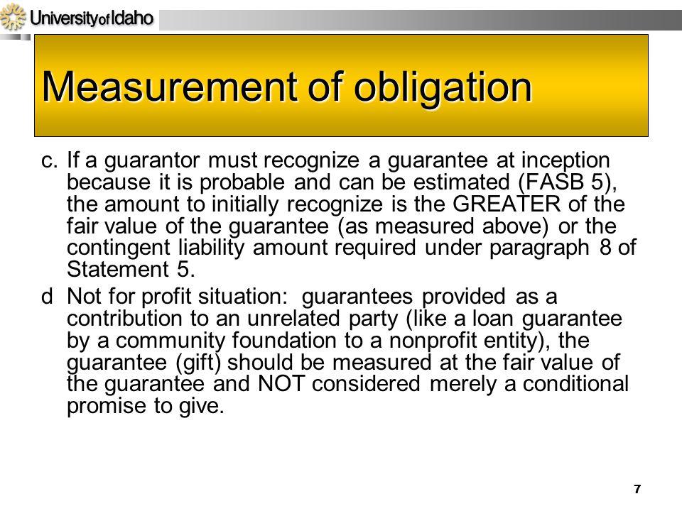 Measurement of obligation