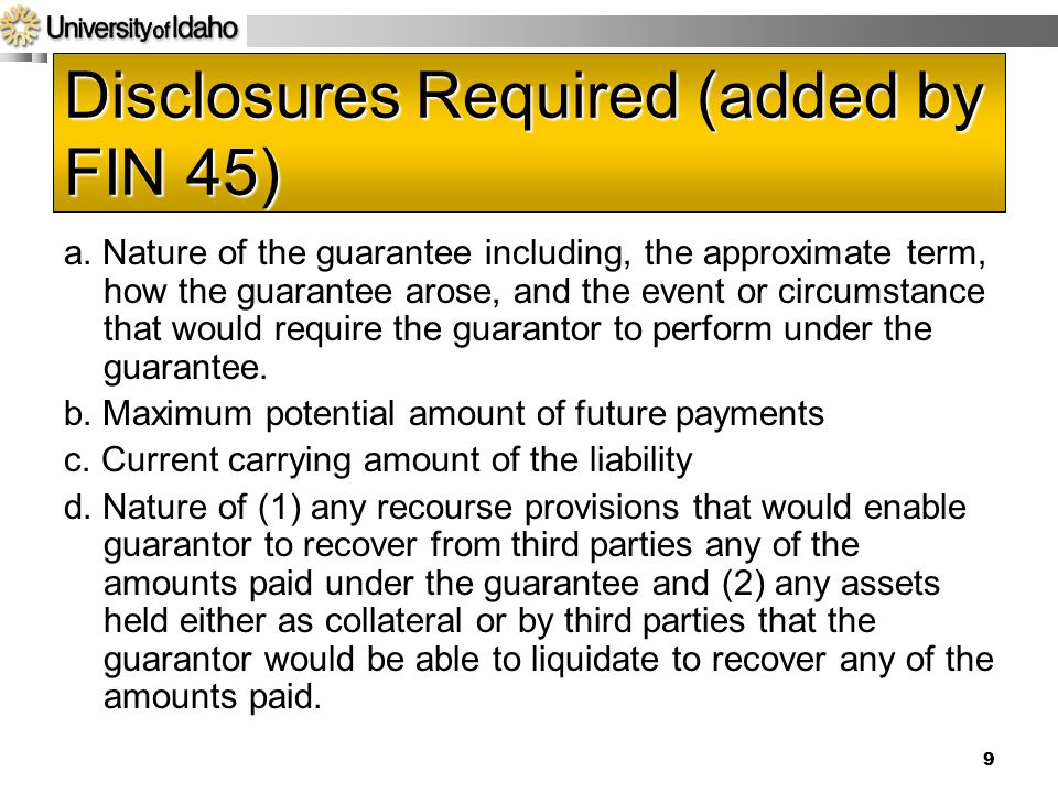 Disclosures Required (added by FIN 45)