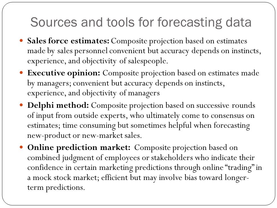 Sources and tools for forecasting data