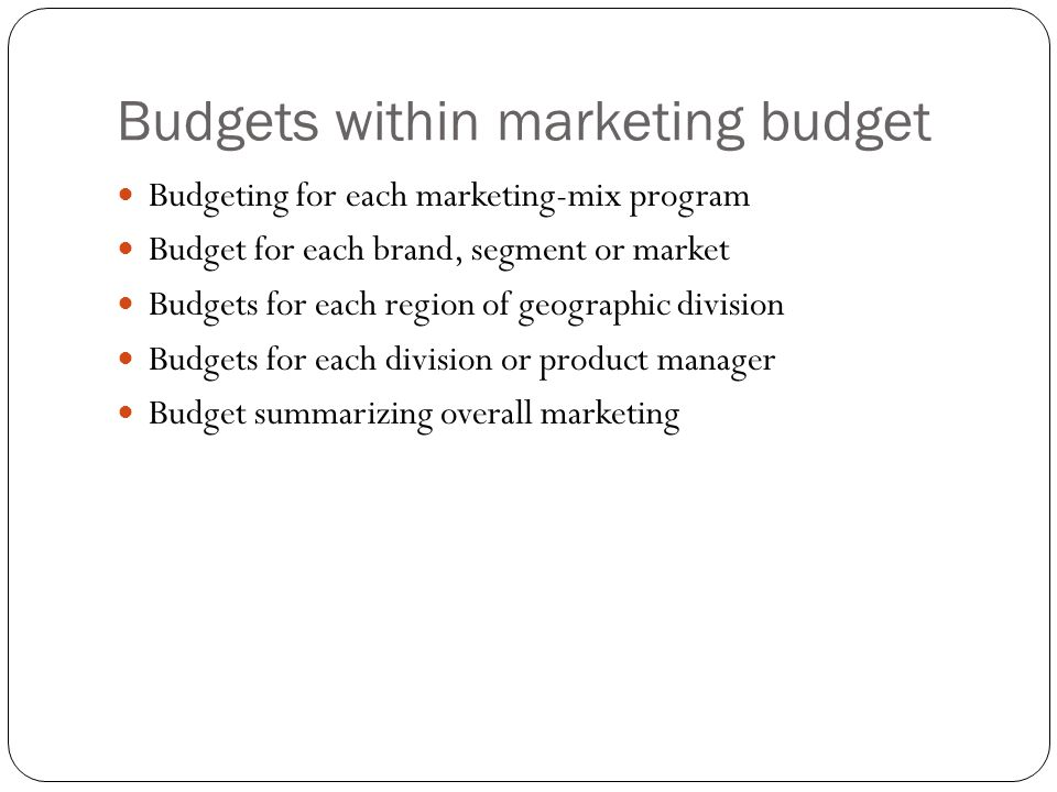 Budgets within marketing budget