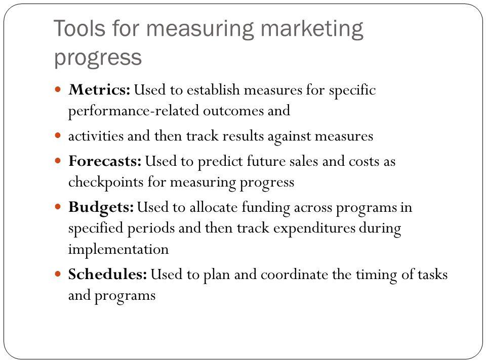 Tools for measuring marketing progress