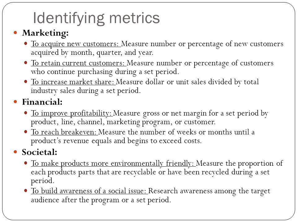 Identifying metrics Marketing: Financial: Societal: