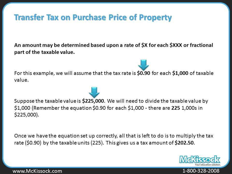 Transfer Tax on Purchase Price of Property