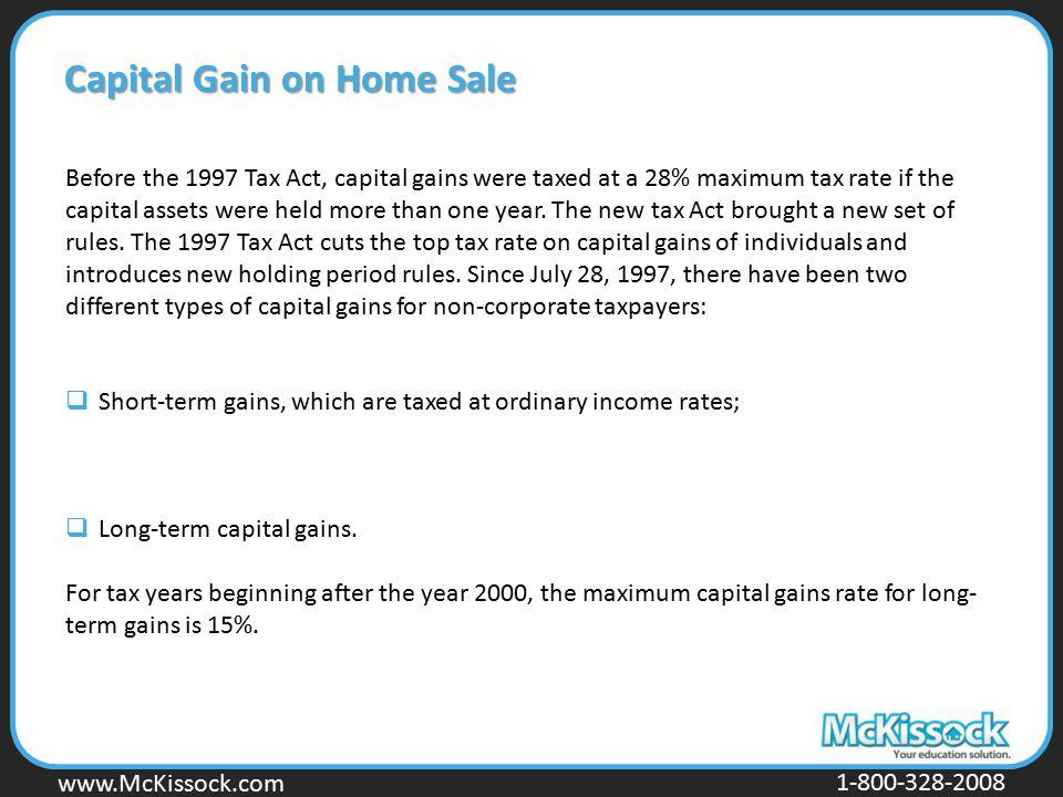 Capital Gain on Home Sale