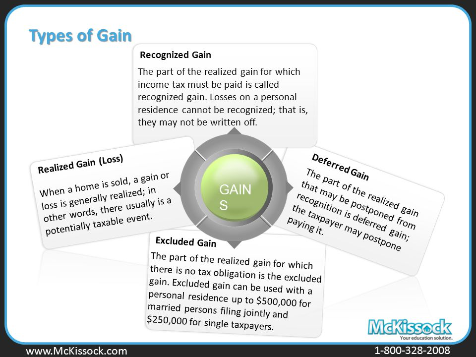 Types of Gain GAINS Recognized Gain