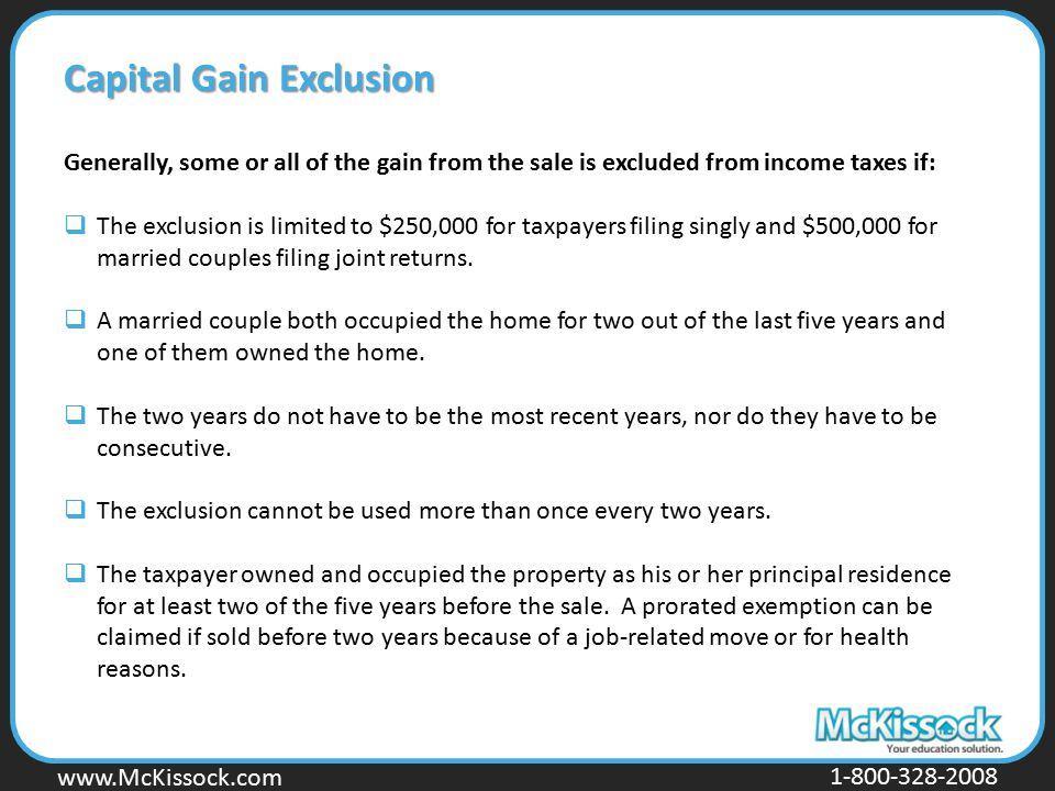 Capital Gain Exclusion