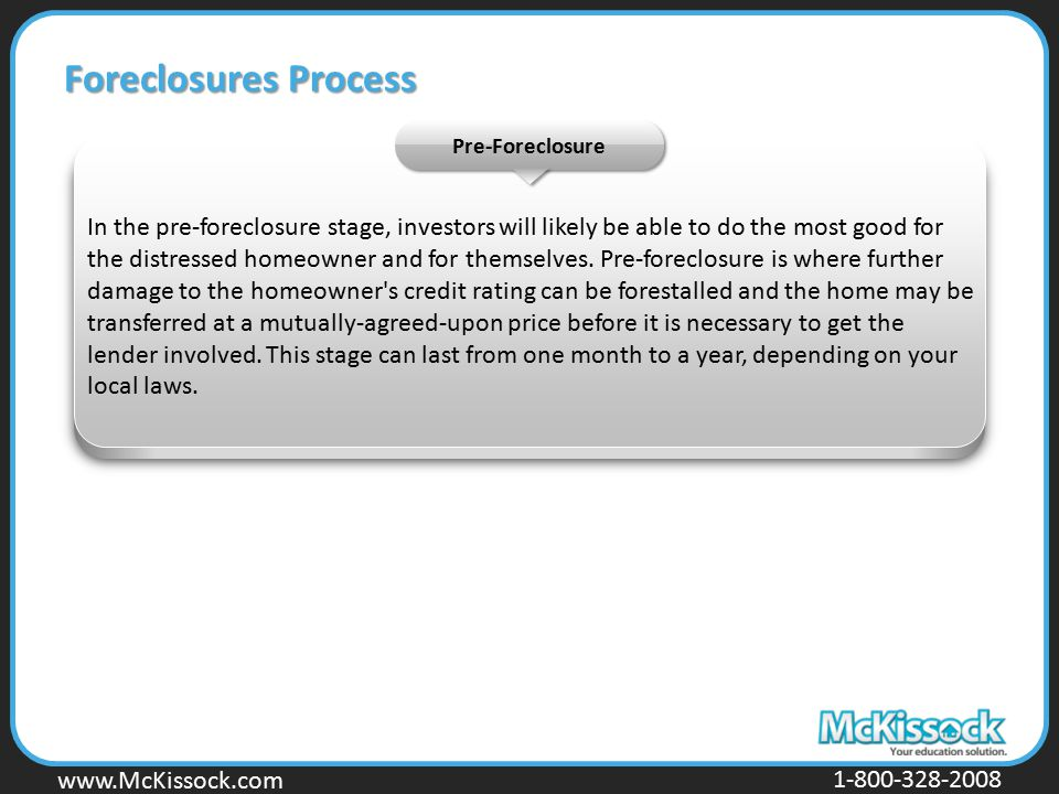 Foreclosures Process Pre-Foreclosure.