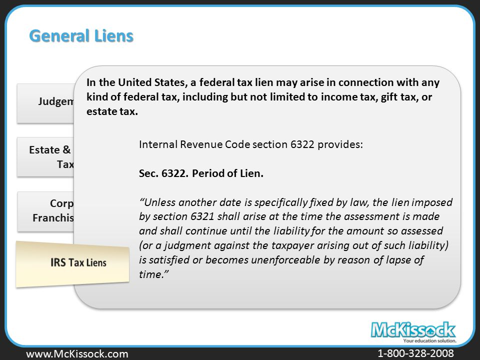 Estate & Inheritance Tax Liens Corporation Franchise Tax Liens
