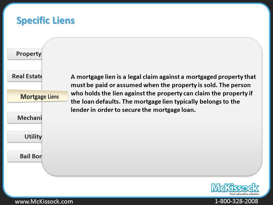 Specific Liens Property Tax Lien Real Estate Tax Liens