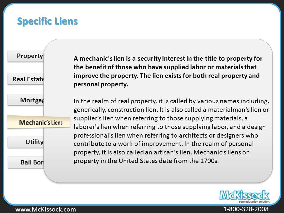 Specific Liens Property Tax Lien