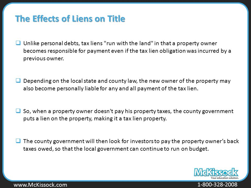 The Effects of Liens on Title