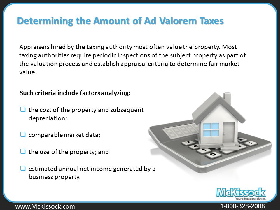 Determining the Amount of Ad Valorem Taxes