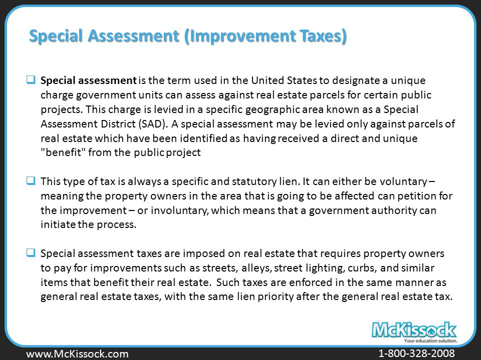 Special Assessment (Improvement Taxes)
