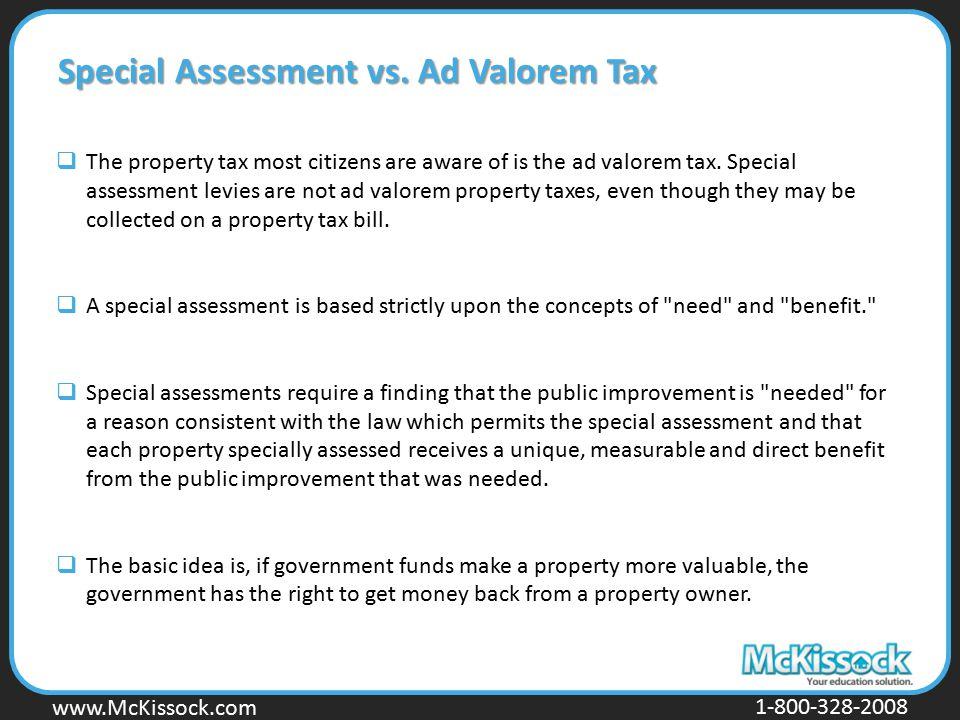 Special Assessment vs. Ad Valorem Tax