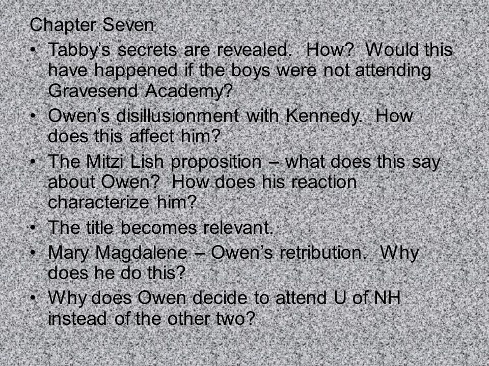 Chapter Seven Tabby's secrets are revealed. How Would this have happened if the boys were not attending Gravesend Academy