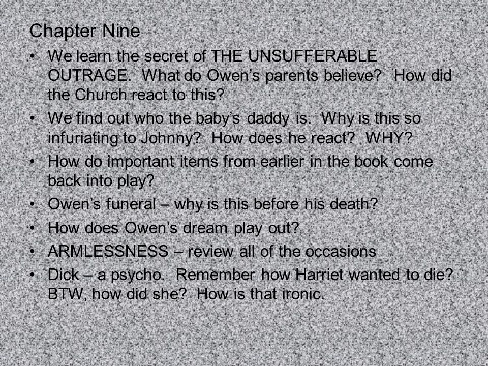 Chapter Nine We learn the secret of THE UNSUFFERABLE OUTRAGE. What do Owen's parents believe How did the Church react to this
