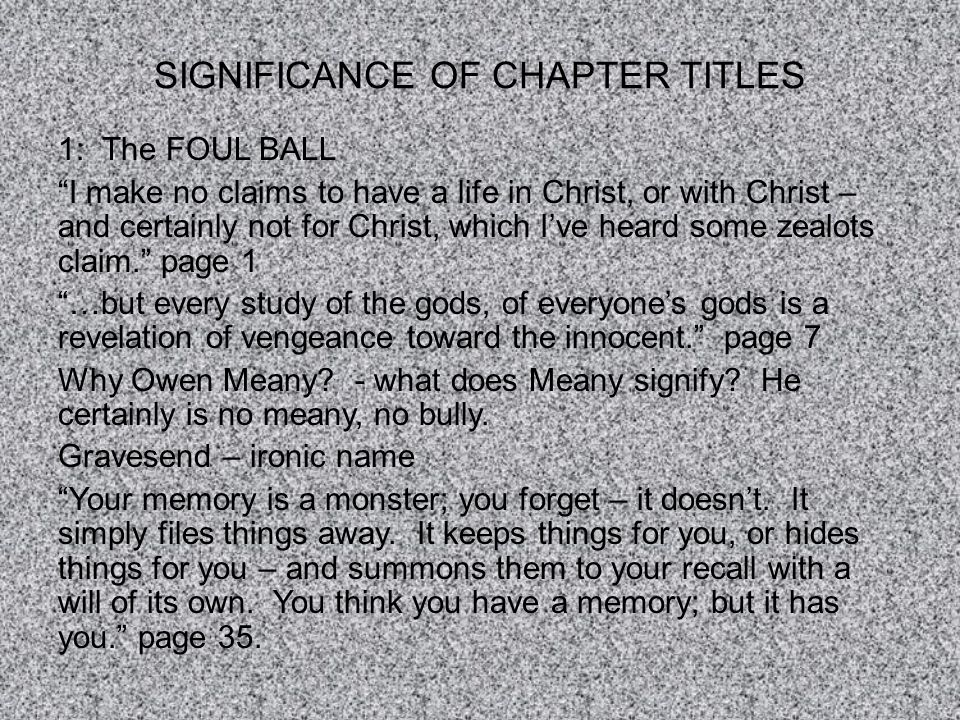 SIGNIFICANCE OF CHAPTER TITLES