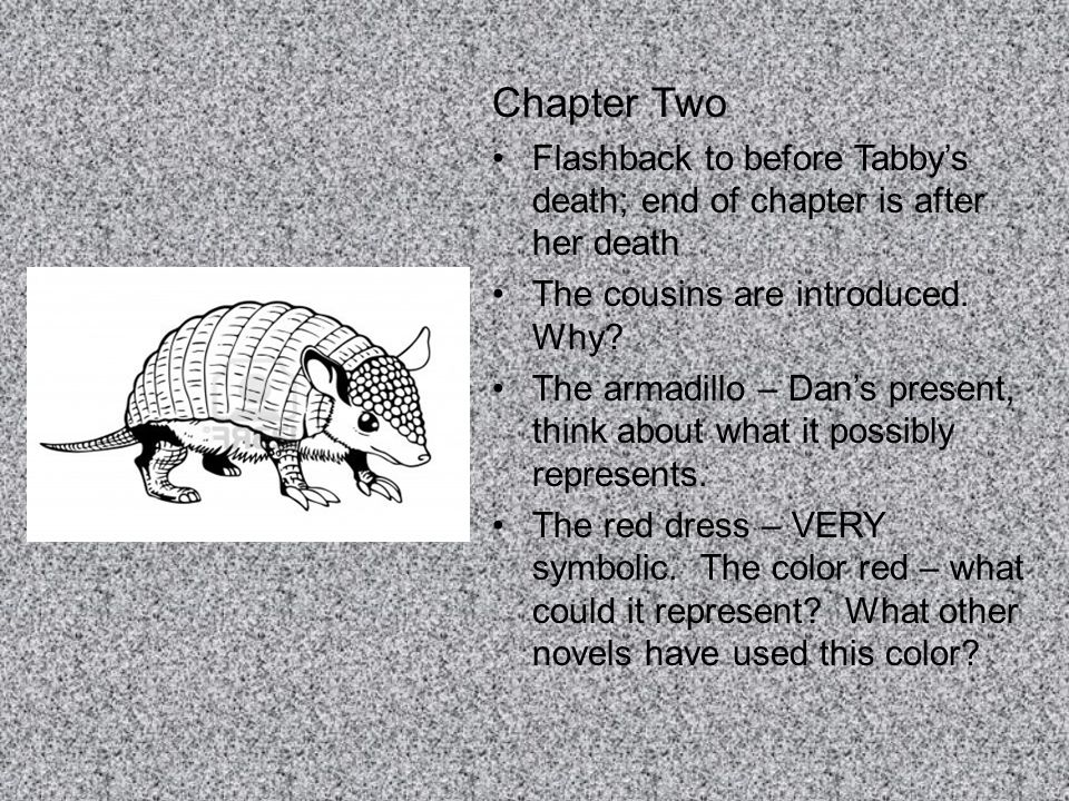 Chapter Two Flashback to before Tabby's death; end of chapter is after her death. The cousins are introduced. Why