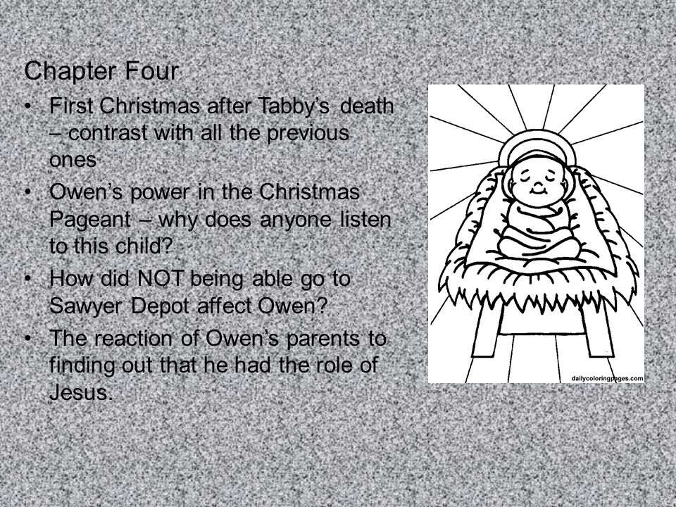 Chapter Four First Christmas after Tabby's death – contrast with all the previous ones.