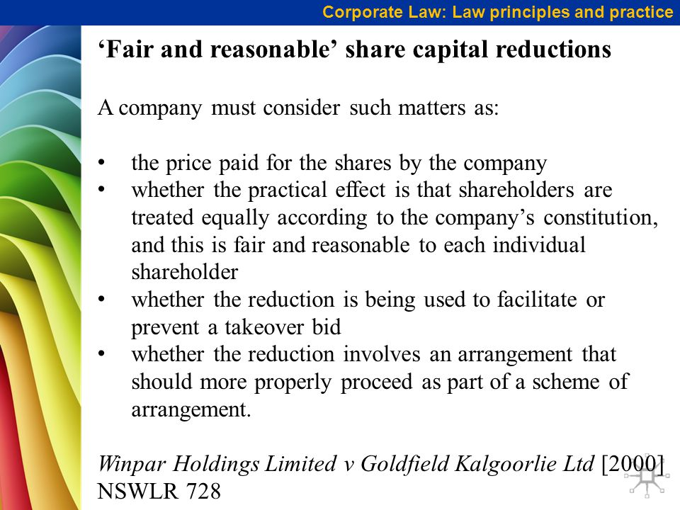 'Fair and reasonable' share capital reductions