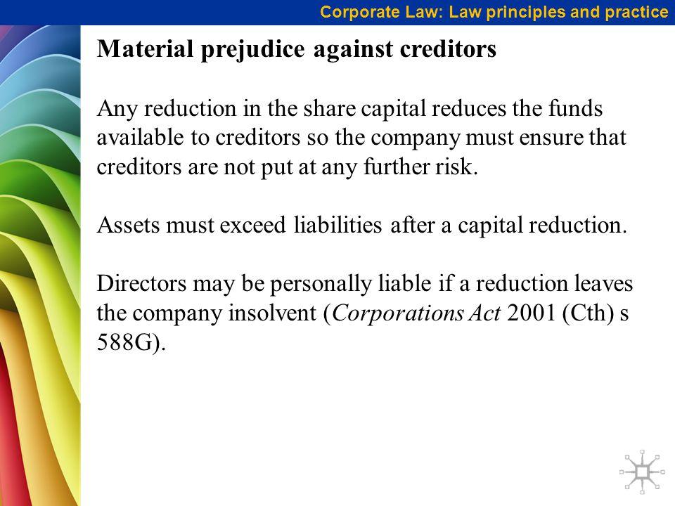 Material prejudice against creditors