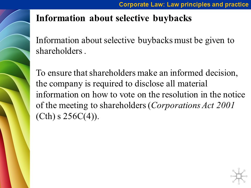 Information about selective buybacks