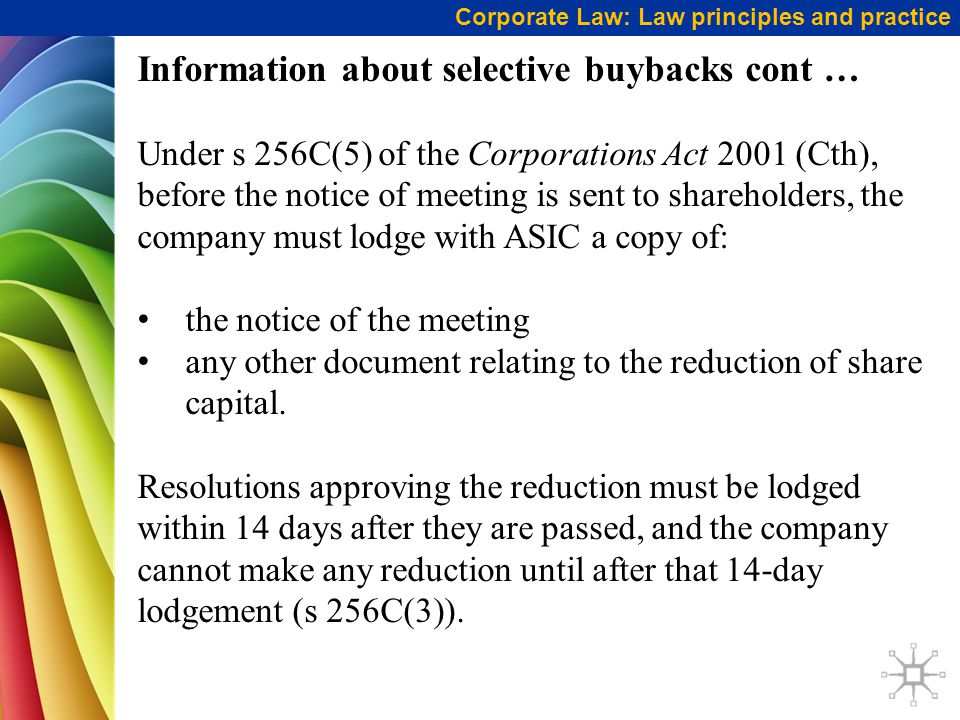 Information about selective buybacks cont …