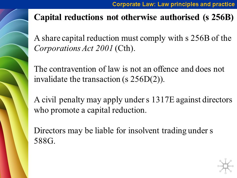 Capital reductions not otherwise authorised (s 256B)