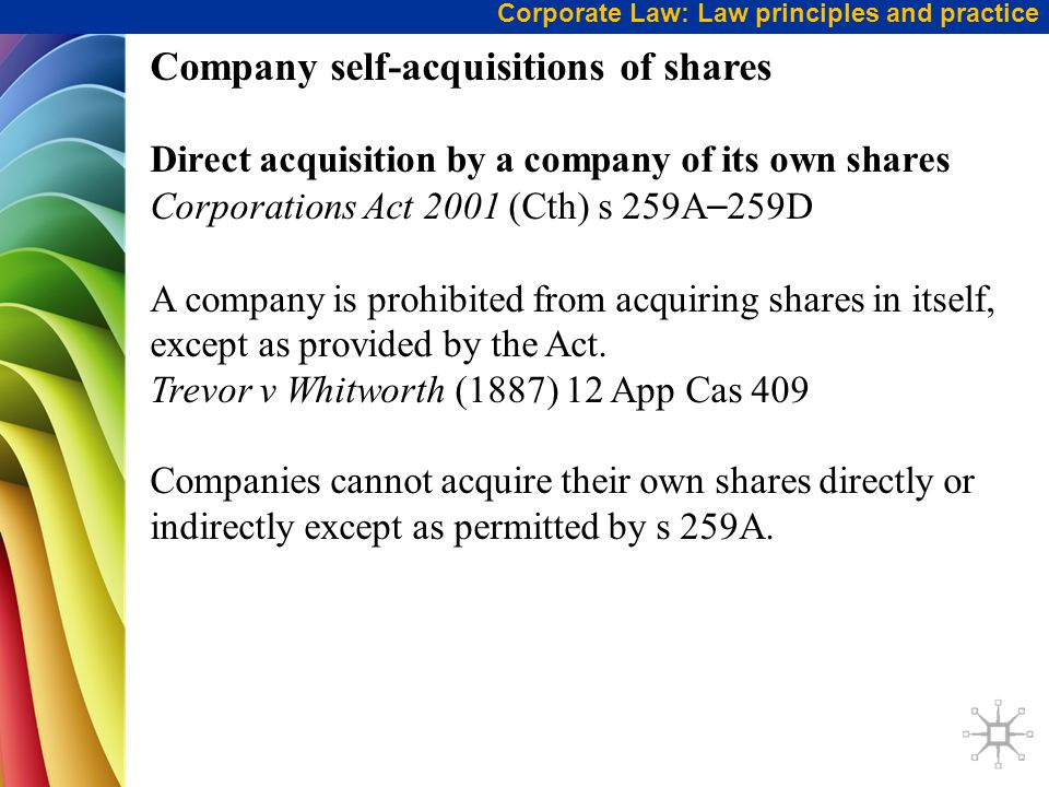 Company self-acquisitions of shares