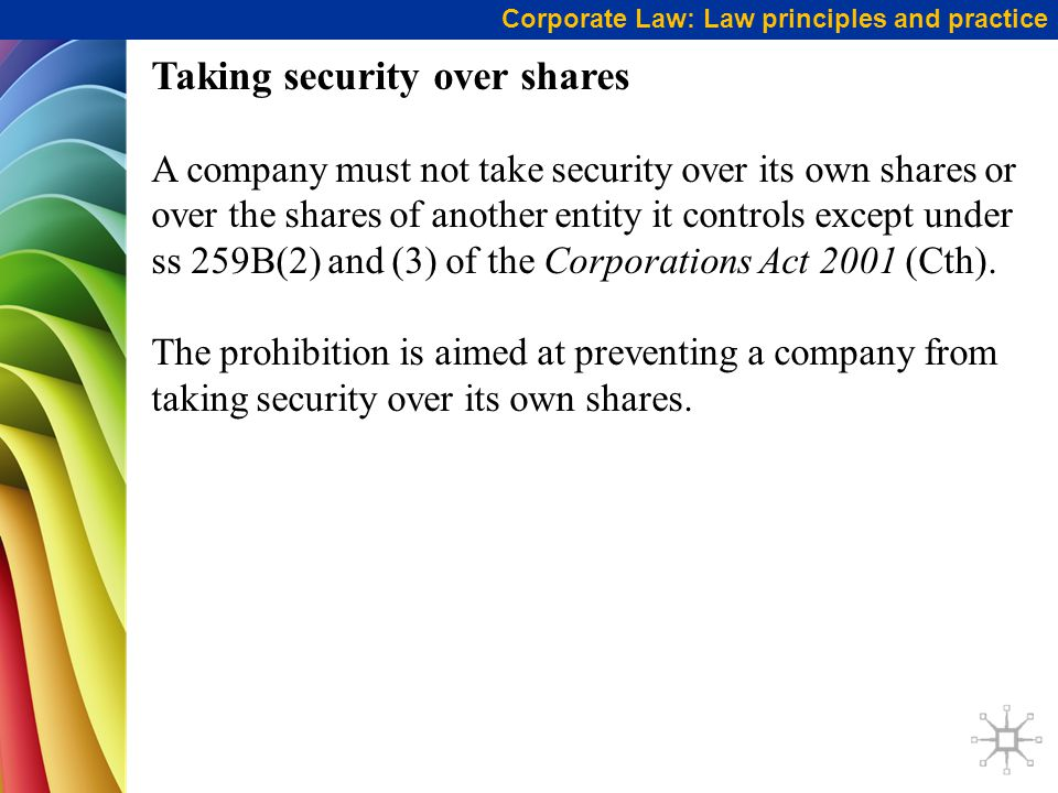 Taking security over shares