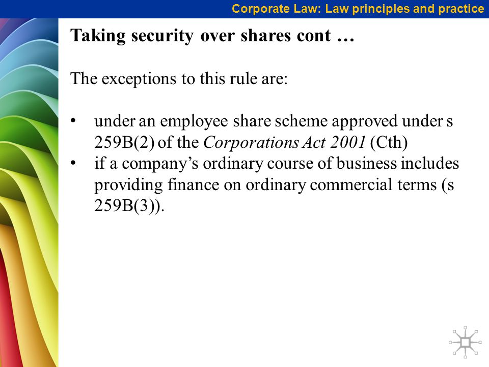 Taking security over shares cont …